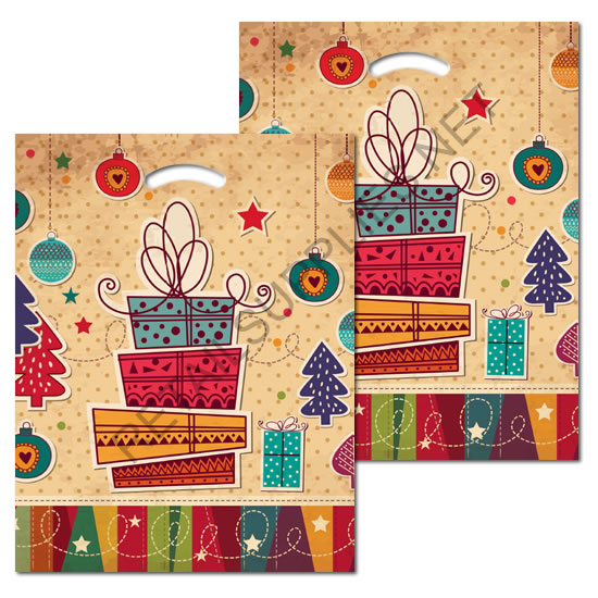 "12""x16""x3"" Holiday Shopping Plastic Pattern Boutique Bags- per 100 - SKU: 670547"