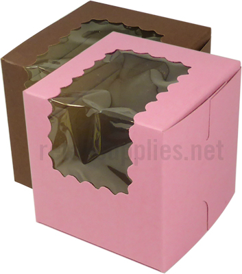 "4"" x 4"" x 4"" Cocoa Cupcake Bakery Box with Window Single Regular Size per 100 - SKU: 605112"