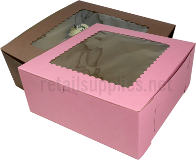 "10"" x 10"" x 4"" Pink Cupcake Bakery Box with Window to fit 6 Regular Cup/12 Mini Cup Size per 100 - SKU: 605137"