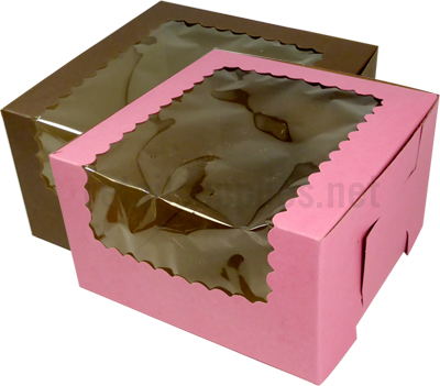 "7"" x 7"" x 4"" Pink Cupcake Bakery Box with Window to fit 4 Regular Cup Size per 100 - SKU: 605122"