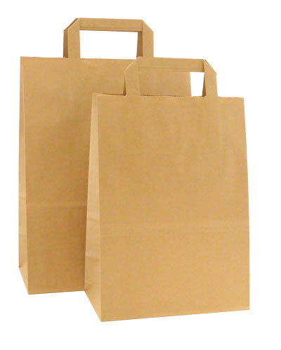 "Cougar 12-1/2""x9""x15"" HD Square Handle Kraft Paper Shopping Bags Per 100 bags - SKU: 664808"