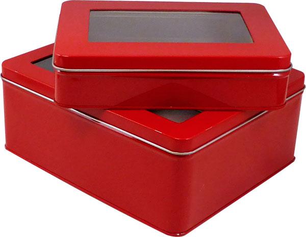 """6 7/8"""" x 5"""" x 1 5/8"""" Red Window Tin Box - SKU: 616012"""