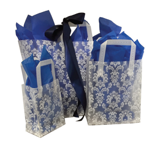 "Prime  5"" x 3"" x 7"" White Damask Frosted Shoppers - SKU: 665478"