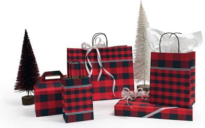 "16"" x 6"" x 13"" Festive Flannel Paper Shopping Bags per 100 - SKU: 667249"
