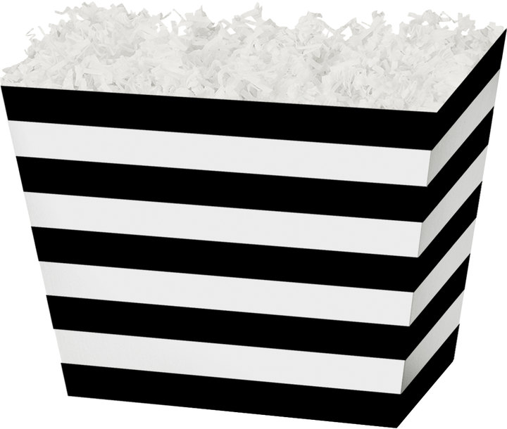 "Black Stripe Angled Basket Box - 10-1/4"" x 6"" x 7-1/2"" - SKU: 602880"