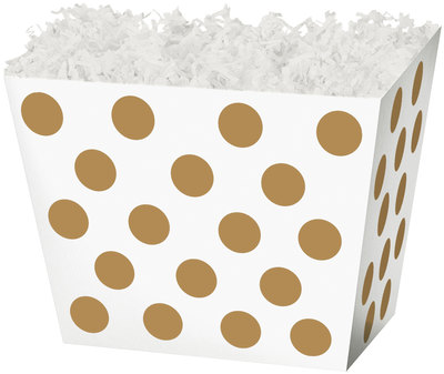 "10-1/4"" x 6"" x 7-1/2"" Gold Dot Angled Basket Box - SKU: 602870"