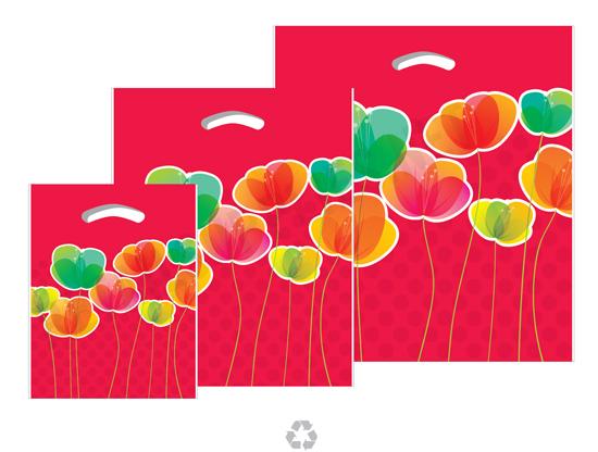 "16""x18""x4"" Flora Plastic Pattern Boutique Bags- per 100 - SKU: 670575"