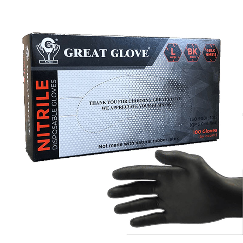 Great Glove® Soft Black Nitrile Powder Free Gloves - M - per box 100 gloves - SKU: 291076