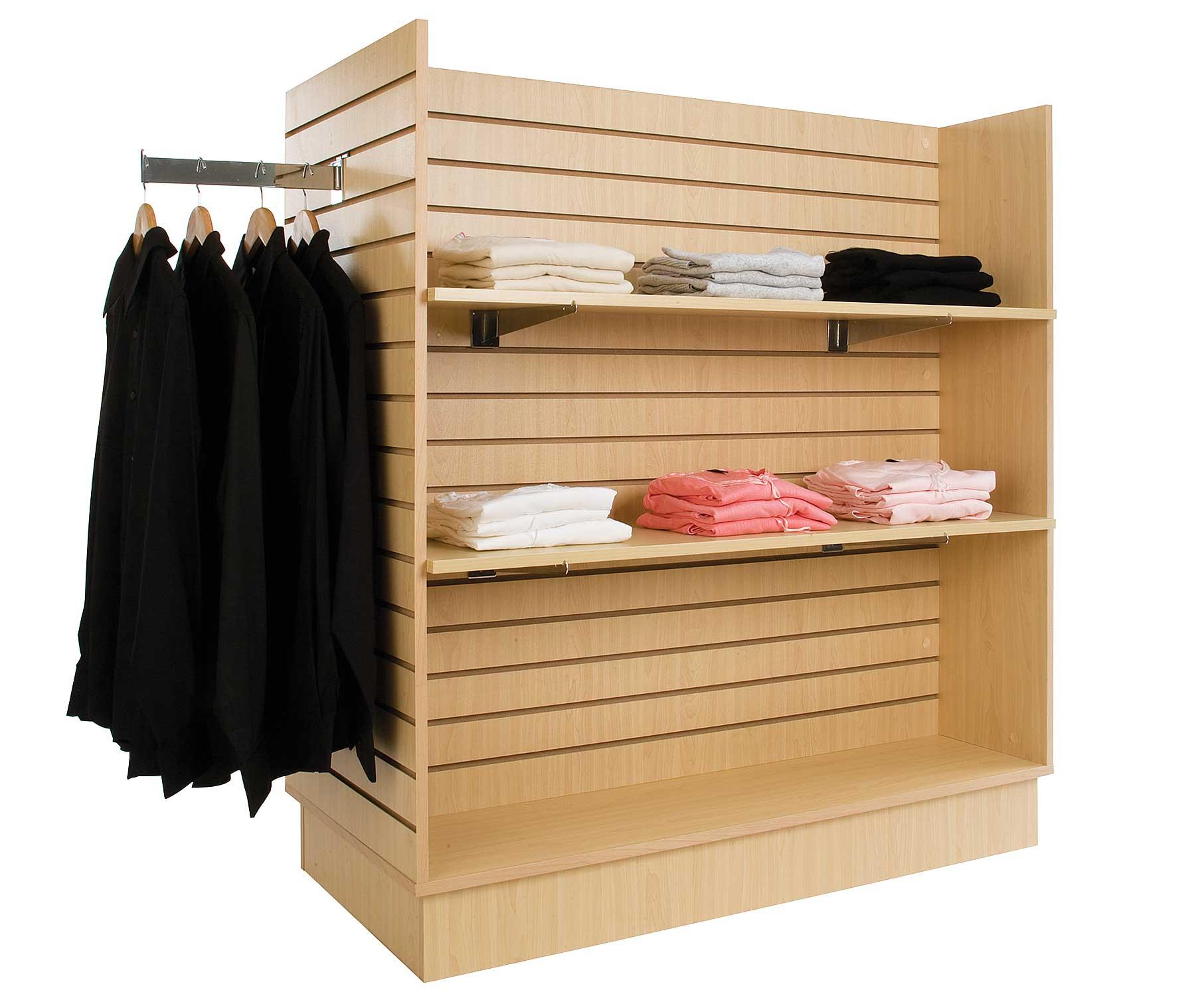 "46-1/2"" x 10"" maple shelf for 990327 Maple Slatwall H-Unit Merchandiser -ea. - SKU: 990330"