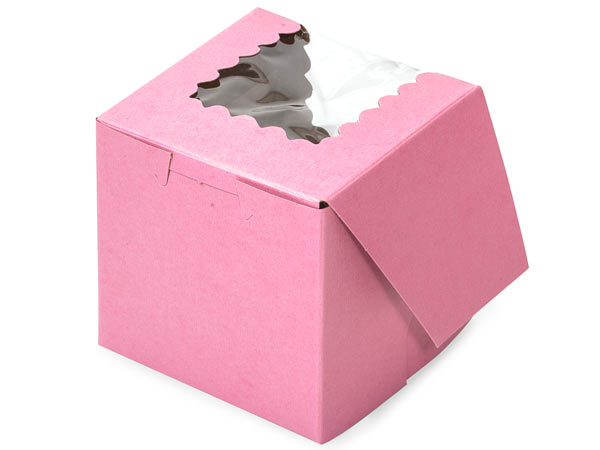 "605107 - 4"" x 4"" x 4"" Pink Cupcake Bakery Box with Window Single Regular Size per 100"