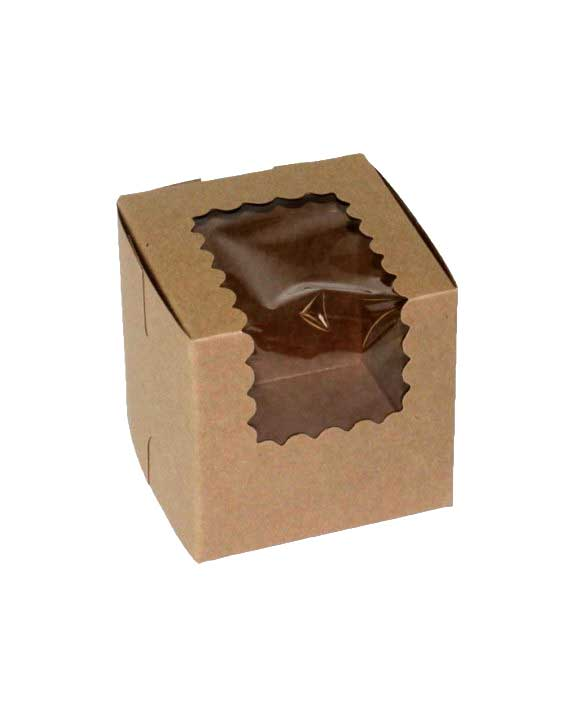 "605103 -  4"" x 4"" x 4"" Kraft Cupcake Bakery Box  with Window Single Regular Size - per 100"