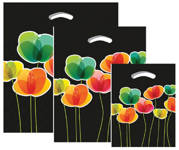 "670519 - 9""x11.5""x2"" - Black Flora Plastic Pattern Boutique Bags"
