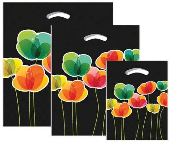 """670553 - 12""""x16""""x3"""" - Black Flora Plastic Pattern Boutique Bags"""