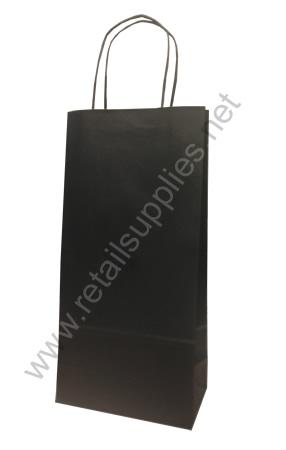 669201 - Matte Black Wine Bottle Paper Shopper