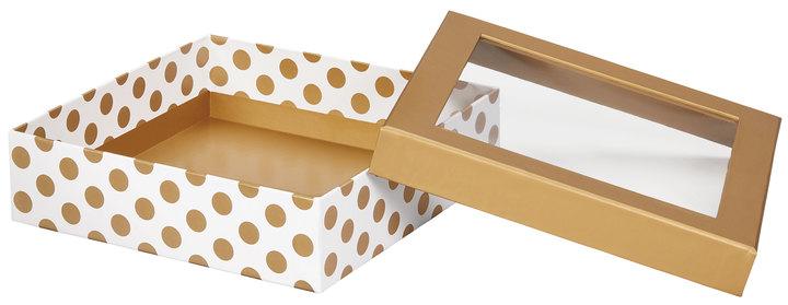 "602849 - Gold Dot Gift Box w/ Window Lid 3.75""x3.75""x2 1/8"""
