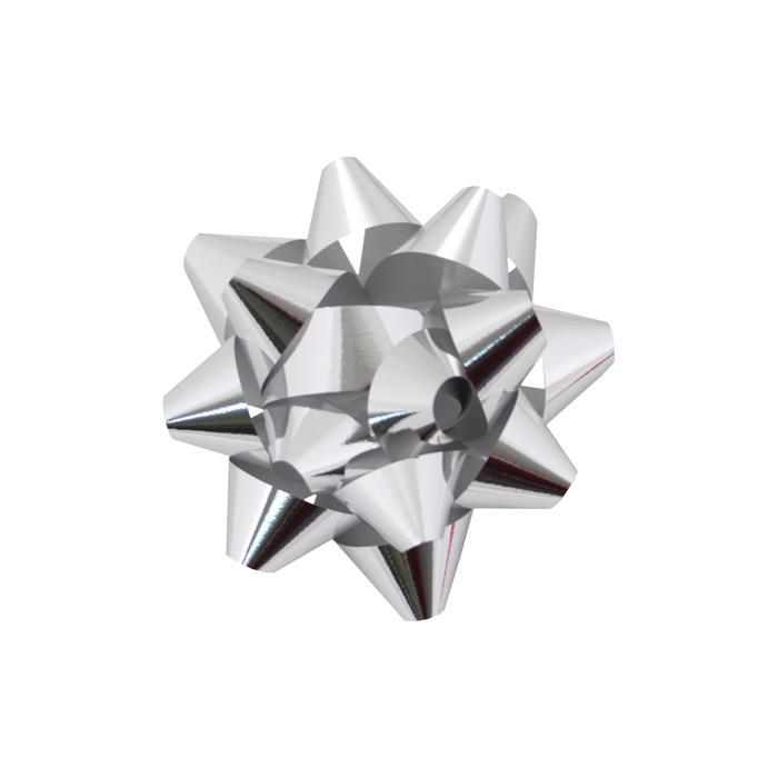 "653260 - Metallic Silver 1-1/4"" Metallic Mini Star Bows per 100"
