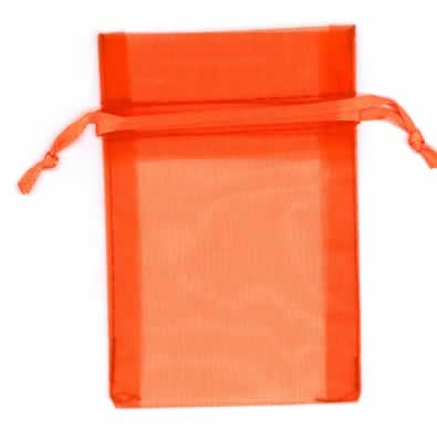 "654611 - Orange Medium Economy Organza Bags 4"" x 6"" pkg. 10"