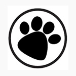 691171 - Black on White Paws Print Circle Labels