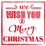 690096-White & Red Merry Christmas Label